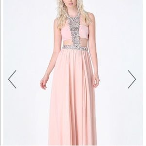 Bebe bandeau jeweled gown